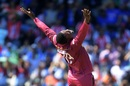 Sheldon Cottrell celebrates after dismissing Hardik Pandya, India v West Indies, Old Trafford, June 27, 2019