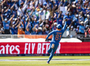 Kedar Jadhav rejoices after taking Chris Gayle's catch, India v West Indies, World Cup 2019, Old Trafford, June 27, 2019