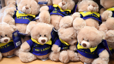Toy bears were seen rooting for Sri Lanka