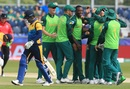 Kagiso Rabada celebrates with teammates after dismissing Dimuth Karunaratne for a golden duck, South Africa v Sri Lanka, World Cup 2019, Chester-le-Street, June 28, 2019