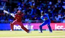 Shimron Hetmyer plays a cut as MS Dhoni looks on, India v West Indies, World Cup 2019, Old Trafford, June 27, 2019
