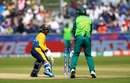 Dhanajaya de Silva looks back to see his bails fly after missing with a reverse sweep off JP Duminy, South Africa v Sri Lanka, World Cup 2019, Chester-le-Street, June 28, 2019