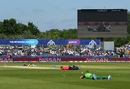 The players and match officials lay down on the pitch to avoid a swarm of bees, South Africa v Sri Lanka, World Cup 2019, Chester-le-Street, June 28, 2019