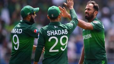 Wahab Riaz celebrates a wicket