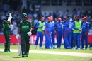 Fakhar Zaman walks off after he was caught LBW against Mujeeb Ur Rahman, Afghanistan v Pakistan, World Cup 2019, Headingley, June 29, 2019