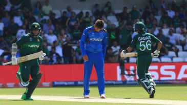 Hamid Hasan appears to have pulled his left hamstring as Imam-ul-Haq and Babar Azam take a run