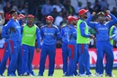 Mujeeb Ur Rahman celebrates a wicket with his teammates, Afghanistan v Pakistan, World Cup 2019, Leeds, June 29, 2019