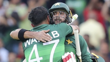 Imad Wasim and Wahab Riaz embrace each other after seeing Pakistan over the line