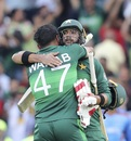 Imad Wasim and Wahab Riaz embrace each other after seeing Pakistan over the line, Afghanistan v Pakistan, World Cup 2019, Headingley, June 29, 2019
