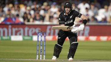 Martin Guptill plays a shot as New Zealand start cautiously