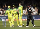 Jason Behrendorff celebrates with David Warner and Glenn Maxwell after dismissing Henry Nicholls, Australia v New Zealand, World Cup 2019, Lords, June 29, 2019
