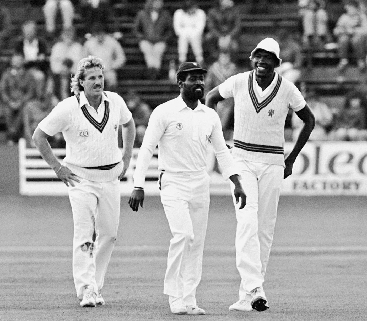With the other famous Somerset stalwarts Joel Garner and Ian Botham in 1986