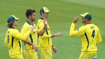 Mitch Marsh celebrates a wicket