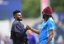 Isuru Udana and Chris Gayle catch up before the start of the game, Sri Lanka v West Indies, World Cup 2019, Chester-le-Street, July 1, 2019