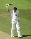 Sam Northeast raises his bat, Somerset v Hampshire, County Championship, Division One, Taunton, July 1, 2019