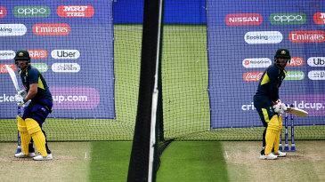 Aaron Finch and David Warner bat side by side in the nets