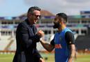 Kevin Pietersen and Virat Kohli catch up before the match, Bangladesh v India, World Cup 2019, Edgbaston, July 2, 2019