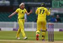 Delissa Kimmince of Australia celebrates the wicket of England's Katherine Brunt, England v Australia, 1st ODI, Leicester, July 02, 2019