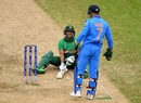 Sabbir Rahman slips, but can see the lighter side of the moment along with MS Dhoni, Bangladesh v India, World Cup 2019, Edgbaston, July 2, 2019