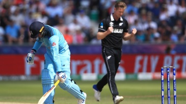 Jason Roy smashes the ground with his bat after getting dismissed by Jimmy Neesham