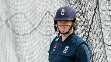 Anya Shrubsole looks on during the England nets practice
