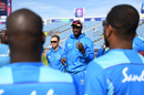 Jason Holder talks to his team before their last match, Afghanistan v West Indies, World Cup 2019, Headingley, July 4, 2019