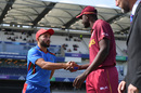 Gulbadin Naib and Jason Holder at the toss, Afghanistan v West Indies, World Cup 2019, Headingley, July 4, 2019