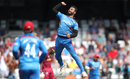 Dawlat Zadran leaps with joy after dismissing Chris Gayle, Afghanistan v West Indies, World Cup 2019, Headingley, July 4, 2019