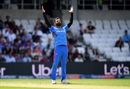 Dawlat Zadran celebrates the wicket of Shimron Hetmyer, Afghanistan v West Indies. World Cup 2019, Headingley, July 4, 2019