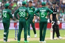 Jimmy Neesham grins as Shaheen Afridi, Sarfaraz Ahmed, Fakhar Zaman, and Mohammad Amir look on, New Zealand v Pakistan, World Cup 2019, Birmingham, June 26, 2019