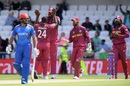 Kemar Roach celebrates after dismissing Gulbadin Naib in his first over, Afghanistan v West Indies. World Cup 2019, Headingley, July 4, 2019
