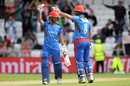 Rahmat Shah (R) congratulates young Ikram Alikhil on his fifty, Afghanistan v West Indies. World Cup 2019, Headingley, July 4, 2019