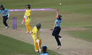 Laura Marsh celebrates taking the catch off her own bowling to dismiss Rachael Haynes, England v Australia, 2nd ODI, Leicester, July 04, 2019