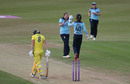 Anya Shrubsole celebrates taking the wicket Ellyse Perry with Amy Jones, England v Australia, 2nd ODI, Leicester, July 04, 2019