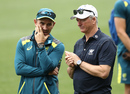 Steve Waugh chats with Justin Langer