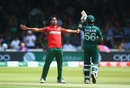 Mohammad Saifuddin celebrates dismissing Babar Azam even as the batsman goes for (an unsuccessful) review, Bangladesh v Pakistan, World Cup 2019, Lord's, July 5, 2019