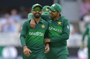Mohammad Hafeez (L) and Haris Sohail share a light moment, Bangladesh v Pakistan, World Cup 2019, Lord's, July 5, 2019