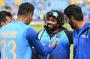 Lasith Malinga chats with Hardik Pandya and Jasprit Bumrah before the start of play, India v Sri Lanka, World Cup 2019, Leeds, July 6, 2019