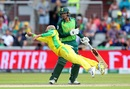 Quinton de Kock looks on as Nathan Lyon dives to attempt a catch, Australia v South Africa, World Cup 2019, Old Trafford, July 6, 2019