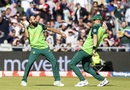 Imran Tahir and Chris Morris celebrate the wicket of Aaron Finch, Australia v South Africa, World Cup 2019, Old Trafford, July 6, 2019