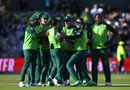 Quinton de Kock is mobbed by teammates after pulling off a stunning run-out to dismiss Marcus Stoinis, Australia v South Africa, World Cup 2019, Old Trafford, July 6, 2019