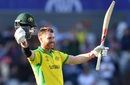 David Warner celebrates reaching his century, Australia v South Africa, World Cup 2019, Old Trafford, July 6, 2019
