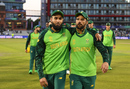 Imran Tahir and JP Duminy leave the field arm-in-arm after their final ODIs, Australia v South Africa, World Cup 2019, Old Trafford, July 6, 2019