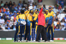 Umpire Ian Gould raises his finger one final time, India v Sri Lanka, World Cup 2019, Leeds, July 6, 2019