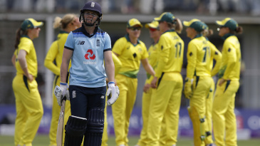 Heather Knight walks off after being dismissed for 5
