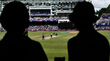 Spectators watch the India-Sri Lanka World Cup match
