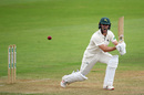 Jake Libby gets well forward, Somerset v Nottinghamshire, County Championship, Taunton, 1st day, July 8, 2019
