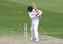 Haseeb Hameed had his stumps rearranged after chopping on, Northamptonshire v Lancashire, County Championship, 2nd day, July 8, 2019