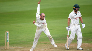 Jack Leach bowls from over the wicket