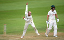 Jack Leach bowls from over the wicket, Somerset v Nottinghamshire, County Championship, 2nd day, July 8, 2019